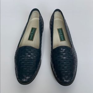 COLE HAAN Navy Woven Leather Loafers